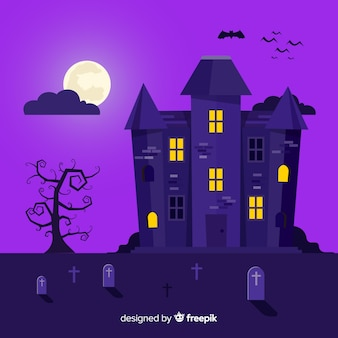 Creepy halloween haunted house with flat design