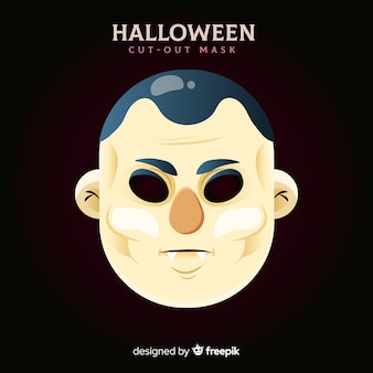 Creepy halloween mask with flat design