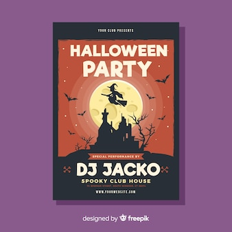 Creepy halloween party poster template with flat design