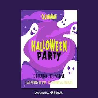 Creepy modello di manifesto festa di halloween con design piatto