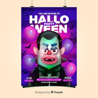 Creepy halloween party poster template with realistic design