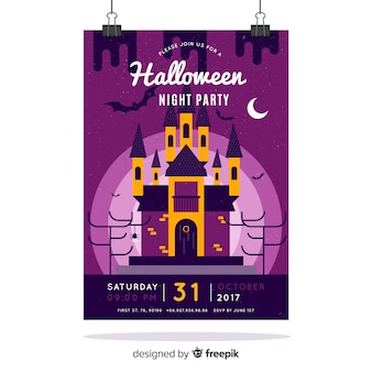Creepy halloween party poster with flat design