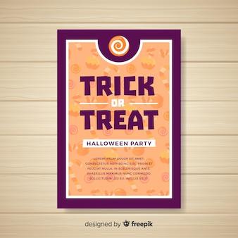 Жуткий праздничный плакат на хэллоуин с плоским дизайном