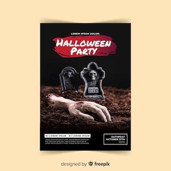 Creepy halloween party poster with realistic design