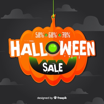 Creepy halloween sale composition with flat design
