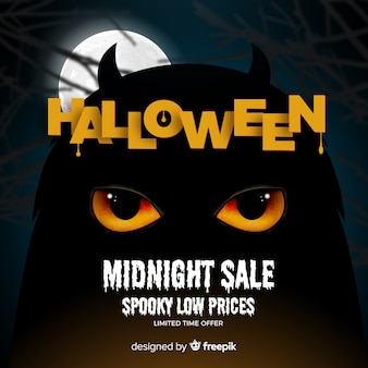 Creepy halloween sale composition with realistic design