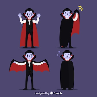 Creepy halloween vampire character collection