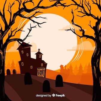 Creepy hand drawn halloween background