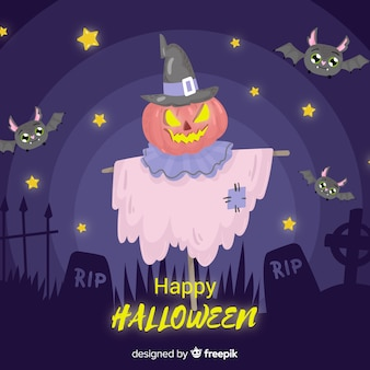 Creepy hand drawn halloween background