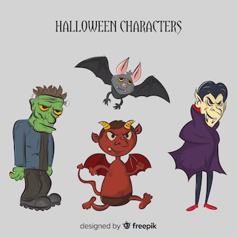 Creepy hand drawn halloween character collection