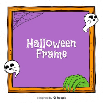 Creepy hand drawn halloween frame