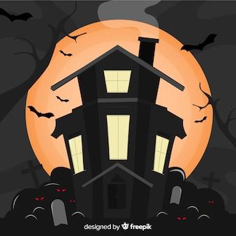 Creepy hand drawn halloween haunted house