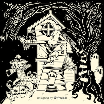 Creepy hand drawn halloween haunted house