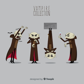 Creepy hand drawn halloween vampire character collection