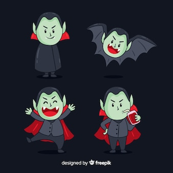 Creepy hand drawn vampire character collection
