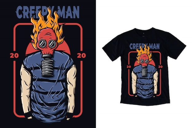 Creepy man illustration with gas mask for t-shirt