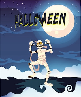 Creepy mummy in halloween scene