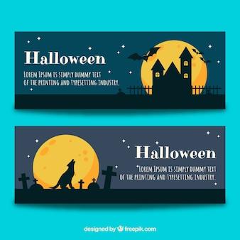 Creepy pack of halloween banners