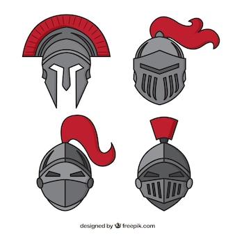 手で描かれた騎士ヘルメットの不気味なパック