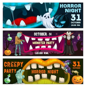 Creepy party, horror night vector flyers with monster mouths and halloween characters zombie, vampire, ghost, witch and pumpkin. night event invitation cards with open toothy jaws cartoon banners set