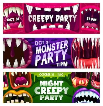 괴물 입으로 소름 끼치는 파티 밤 벡터 전단지. 날카로운 이빨, 떨어지는 침, 피, 혀, 만화 배너 세트가 있는 열린 이빨 턱이 있는 할로윈 공포 밤 이벤트 초대 카드