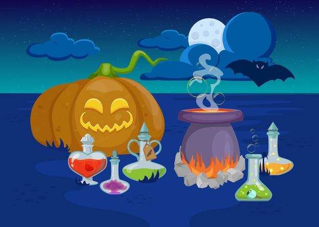 Creepy pumpkin, cauldron, bottles with potion, bat and halloween decoration.