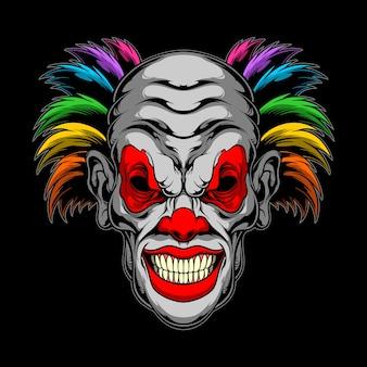 Creepy rainbow clown illustration