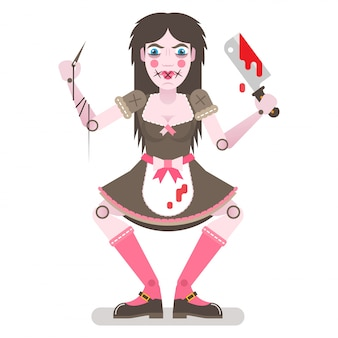 Creepy, scary doll with bloody butchers knife and apron.