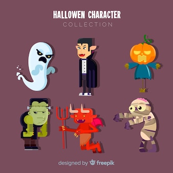 Creepy set of halloween characters with flat design