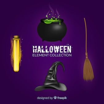 Creepy set of halloween elements