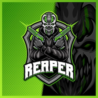 Creepy shooter monster mascot esport logo design illustrations template, roman cartoon style
