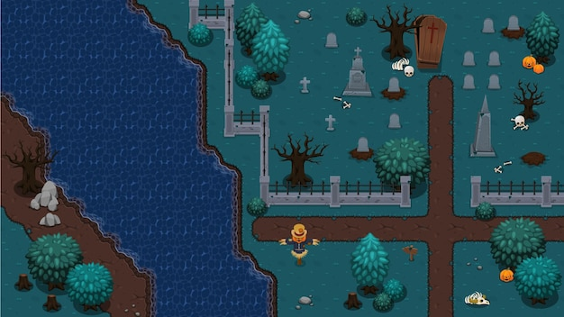 Creepy tomb top down game tileset