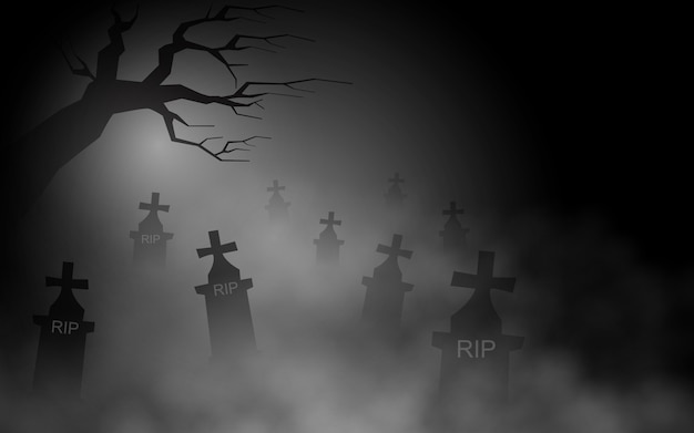Creepy tombs at night are foggy