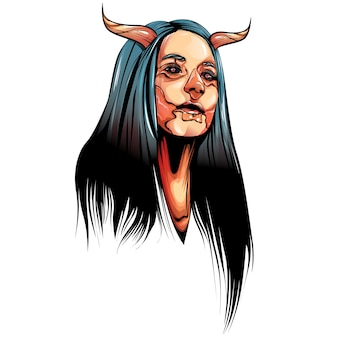 Creepy women with horns