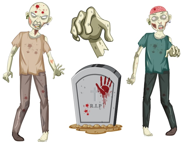 Creepy zombie character and gravestone on white background