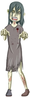 Creepy zombie character on white background