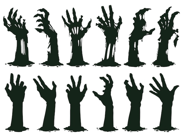 Creepy zombie hands silhouette crooked lambs stick out of graveyard ground vector illustration set