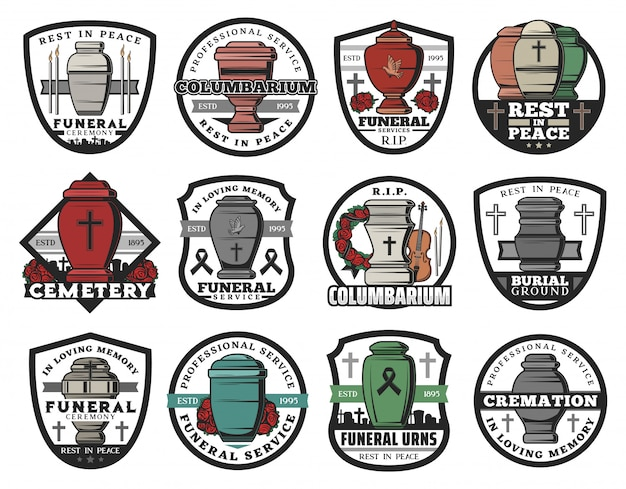 Cremation urn   badges of funeral service. columbarium vases, jars and pots for ashes with cemetery tombstone crosses, memorial wreaths and candles, rip ribbons, doves and crucifixes