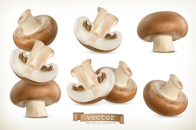 Коричневый гриб cremini, комплект 3d изолированный на белизне