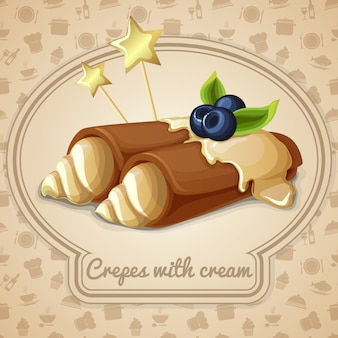 Crepes with cream illustration
