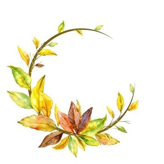 Crescent autumn flower watercolor shape frame