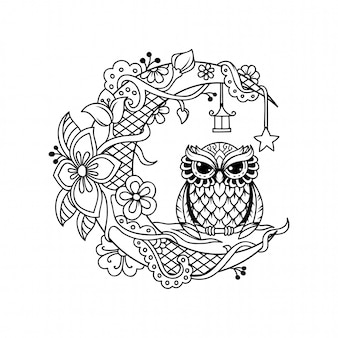 Crescent moon decoration with owl cut file illustration