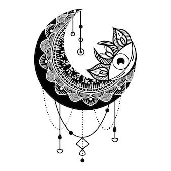 三日月の目の輪郭のシンボル。自由奔放に生きる精神的な民族のお守り。秘教の第三の目。神秘的な部族のマスコット。細い線のカスタマイズ可能なイラスト。ベクトル分離された外形図。