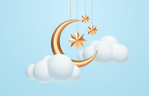 Crescent moon, golden stars and white clouds 3d style isolated on blue background. dream, lullaby, dreams background design for banner, booklet, poster. vector illustration eps10