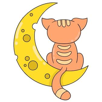 Ночь полумесяца с задумчивой кошкой, векторной иллюстрацией искусства. каракули изображение значка каваи.