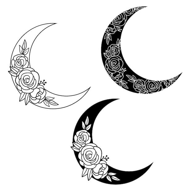 花の三日月ベクトル手描きイラストタトゥーデザインロゴ結婚式の招待状