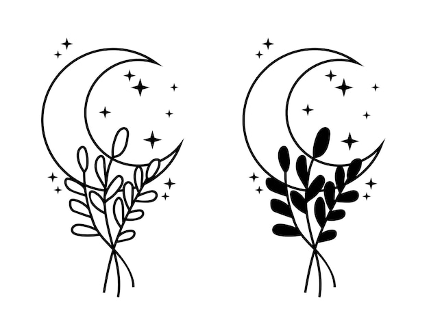 Crescent moon with florals and stars