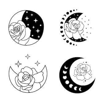 Crescent moon with flowers and stars