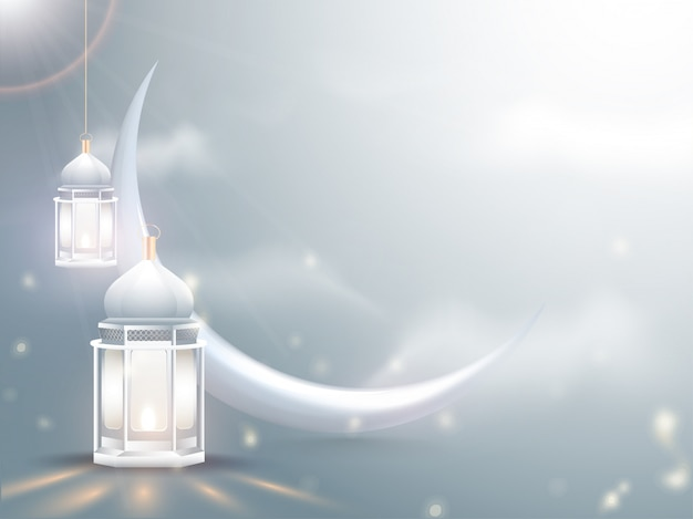 Crescent moon with illuminated lanterns on shiny cloudy background