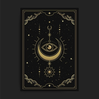 A crescent moon with the inner eye or one eye, card illustration with esoteric, boho, spiritual, geometric, astrology, magic themes, for tarot reader card